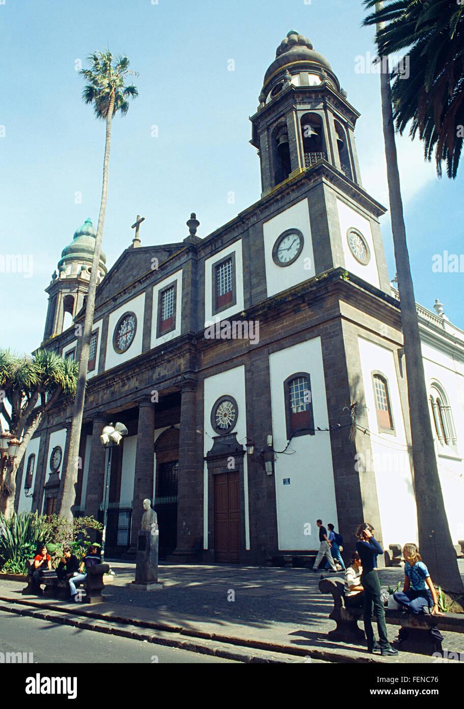 Facade of the cathedral. La Laguna, Tenerife island, Canary Islands, Spain. - Stock Image