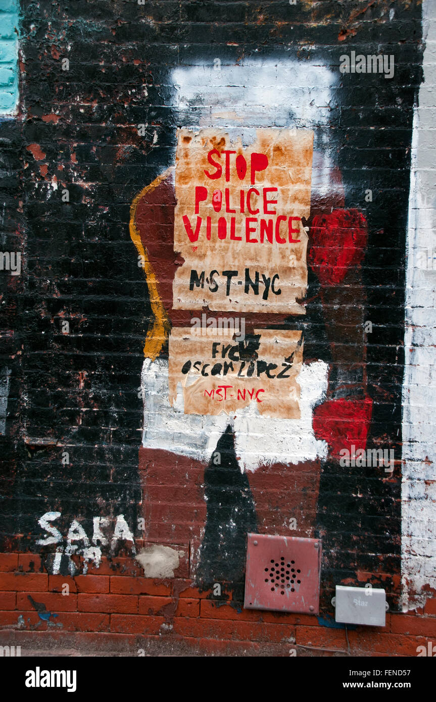 Stop Police violence street art graffiti Harlem New York City - Stock Image