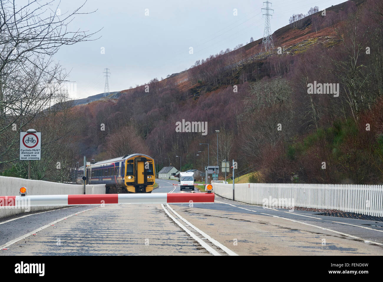 Scotrail train on the Inverness-Kyle railway line, at Garve, Wester Ross, Scottish Highlands - Stock Image
