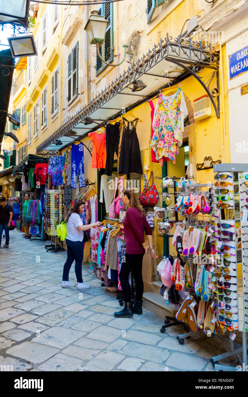Shopping street for tourists, Old town, Corfu , Ionian islands, Greece - Stock Image