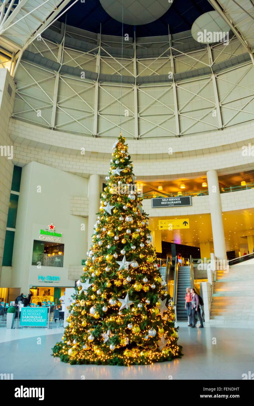 Christmas tree, aeroport, Lisbon, Portugal Stock Photo