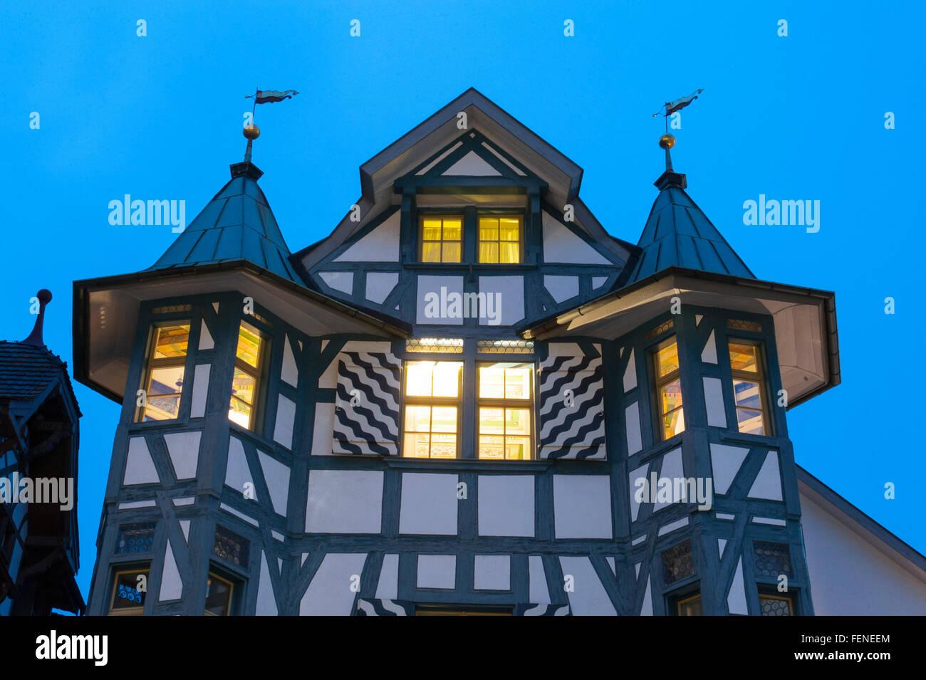 Altstadt bei Dämmerung, St. Gallen, Kanton St. Gallen, Schweiz | old town at dusk, St. Gallen, Canton of St. - Stock Image