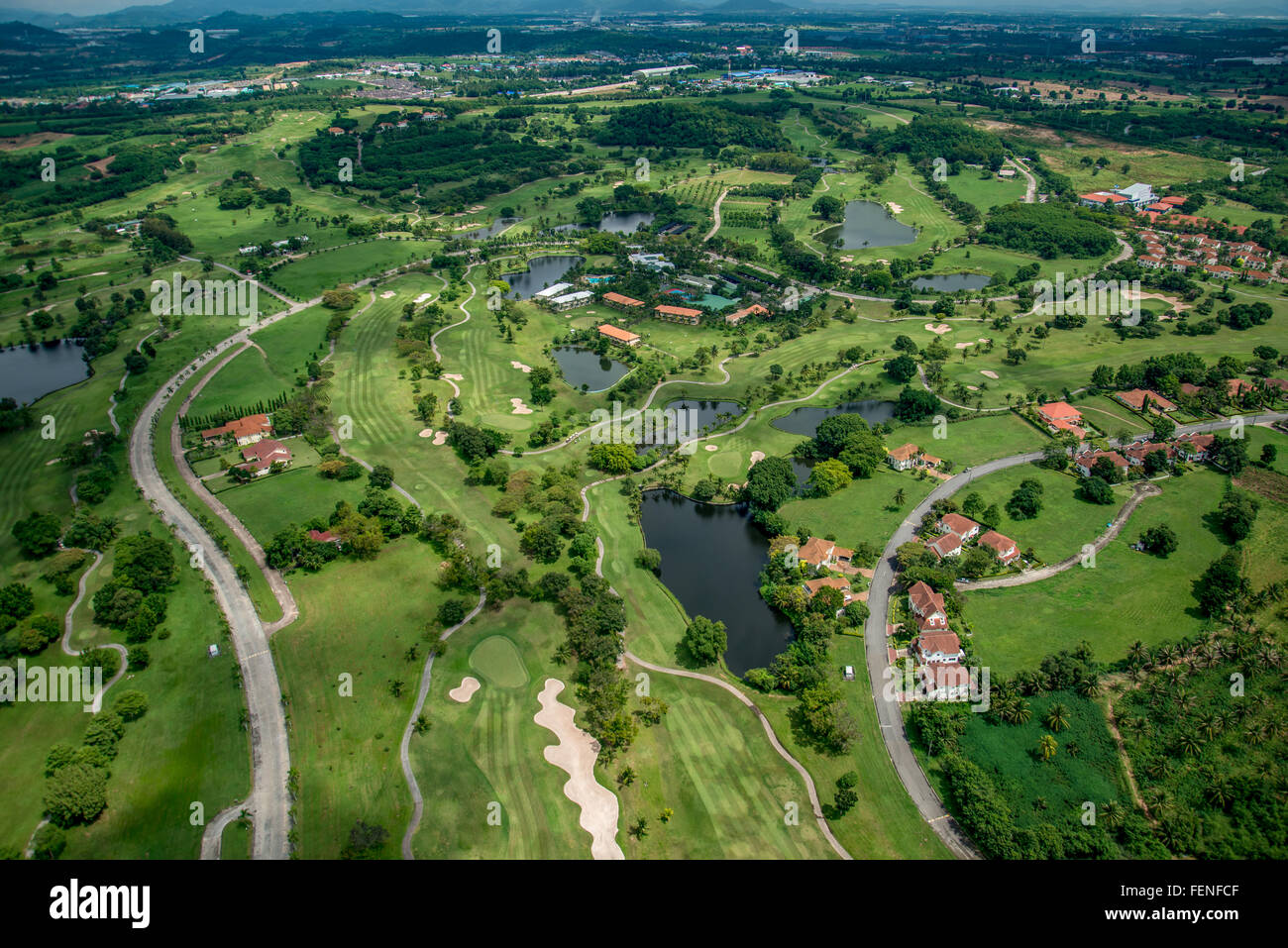 Golf course club aerial photography in Thailand - Stock Image