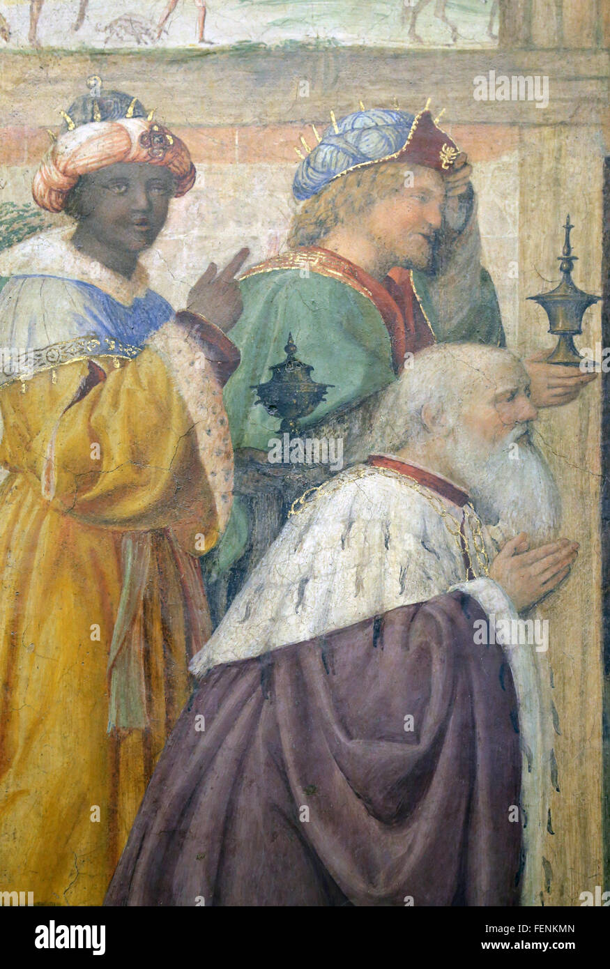 Adoration of the Magi, 1520-1525. By Italian painter Bernardino Luini (1480-1532). Detail. Fresco. - Stock Image