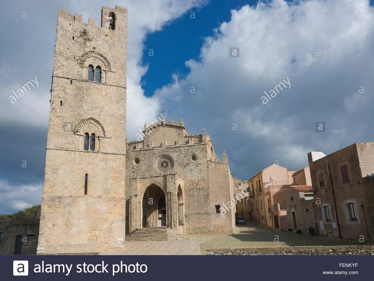 The Duomo, Erice, Sicily, Italy - Stock Image