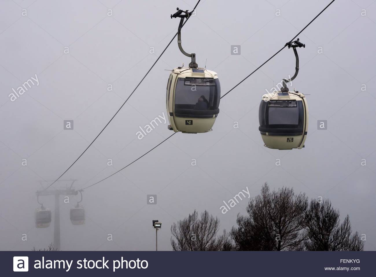 Trapani- Erice cablecars in mist, Sicily, Italy - Stock Image