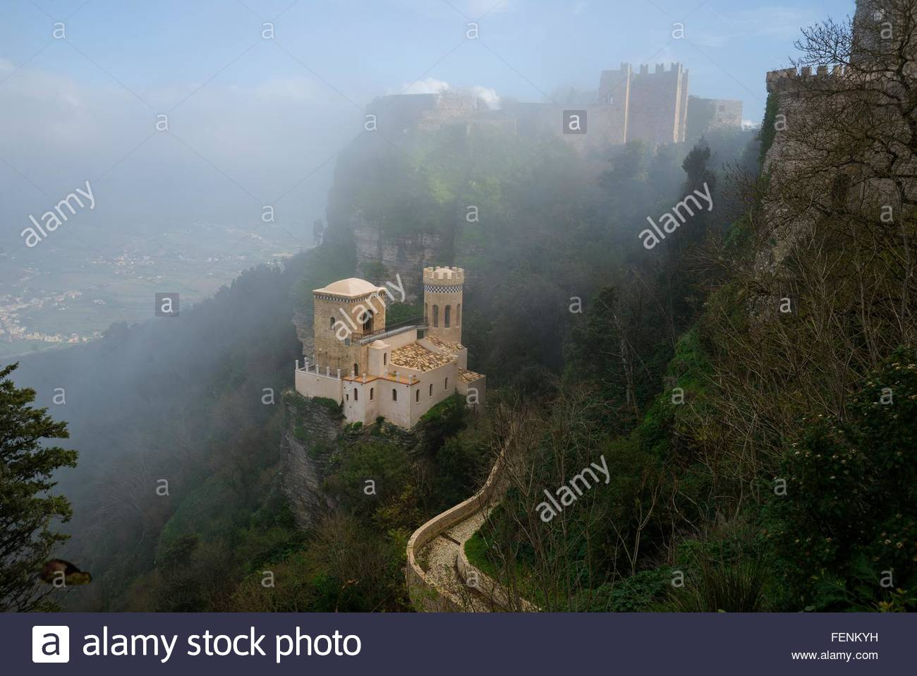High angle view of Venus castle in mist, Erice, Sicily, Italy - Stock Image