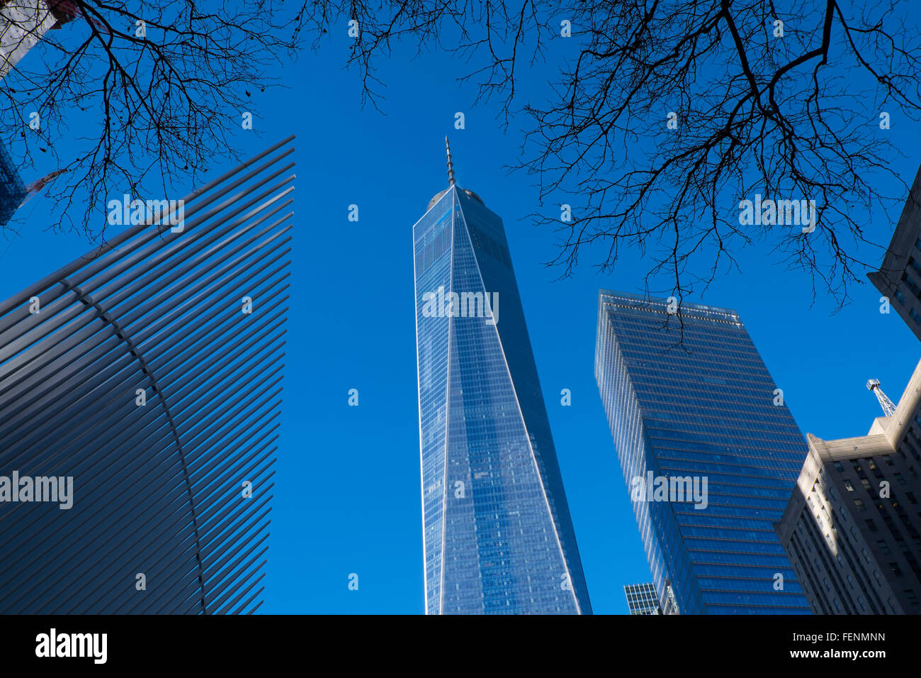 Freedom Tower, One World Trade Centre building, at the site of Grund Zero, lower Manhattan, New York City, USA - Stock Image