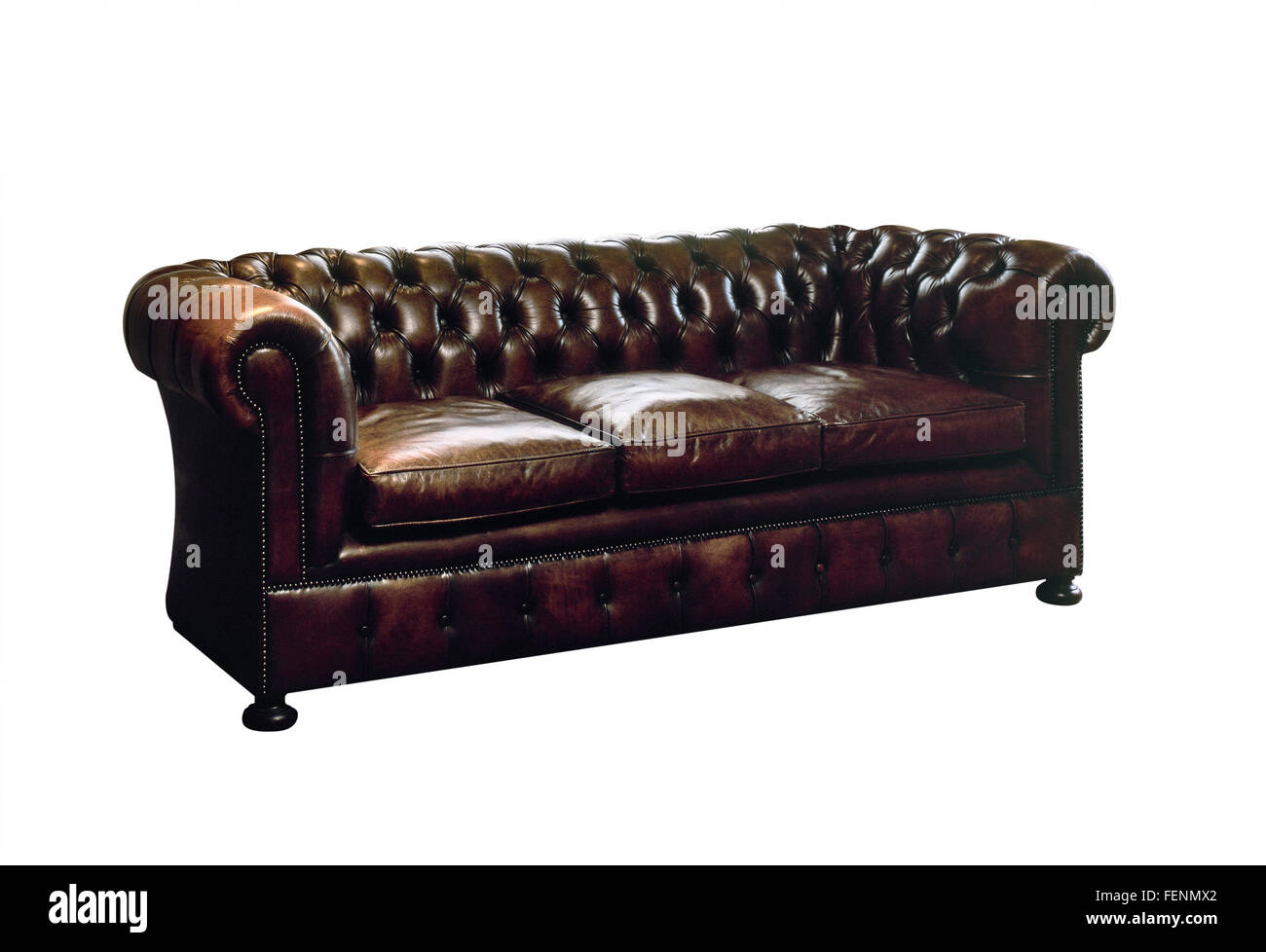 Charmant Old Fashioned Brown Leather Sofa On White With Clipping Path   Stock Image
