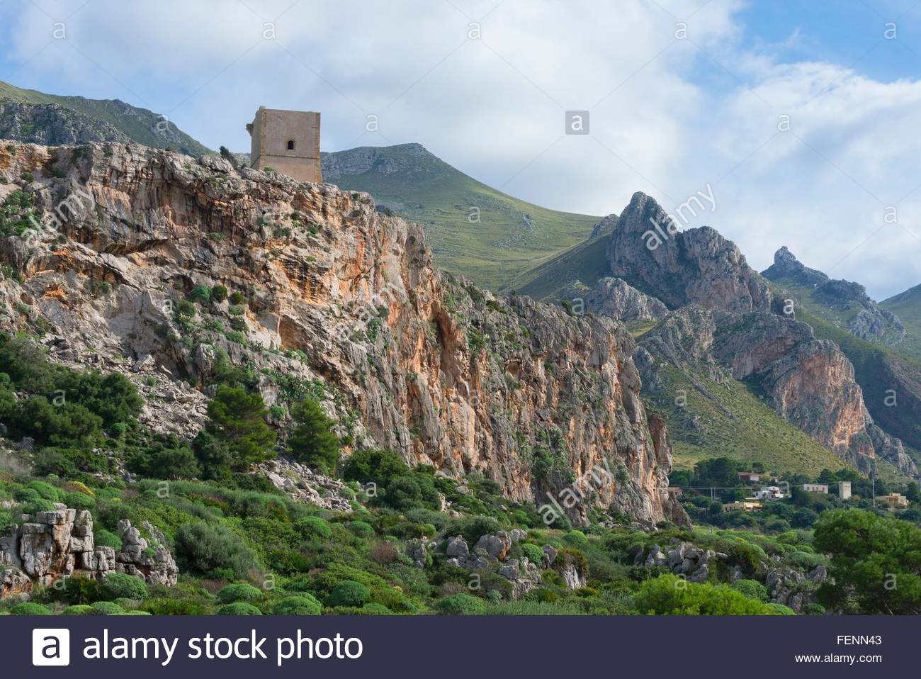 Elevated view of mountain tower, Macari, San Vito Lo Capo, Sicily, Italy - Stock Image