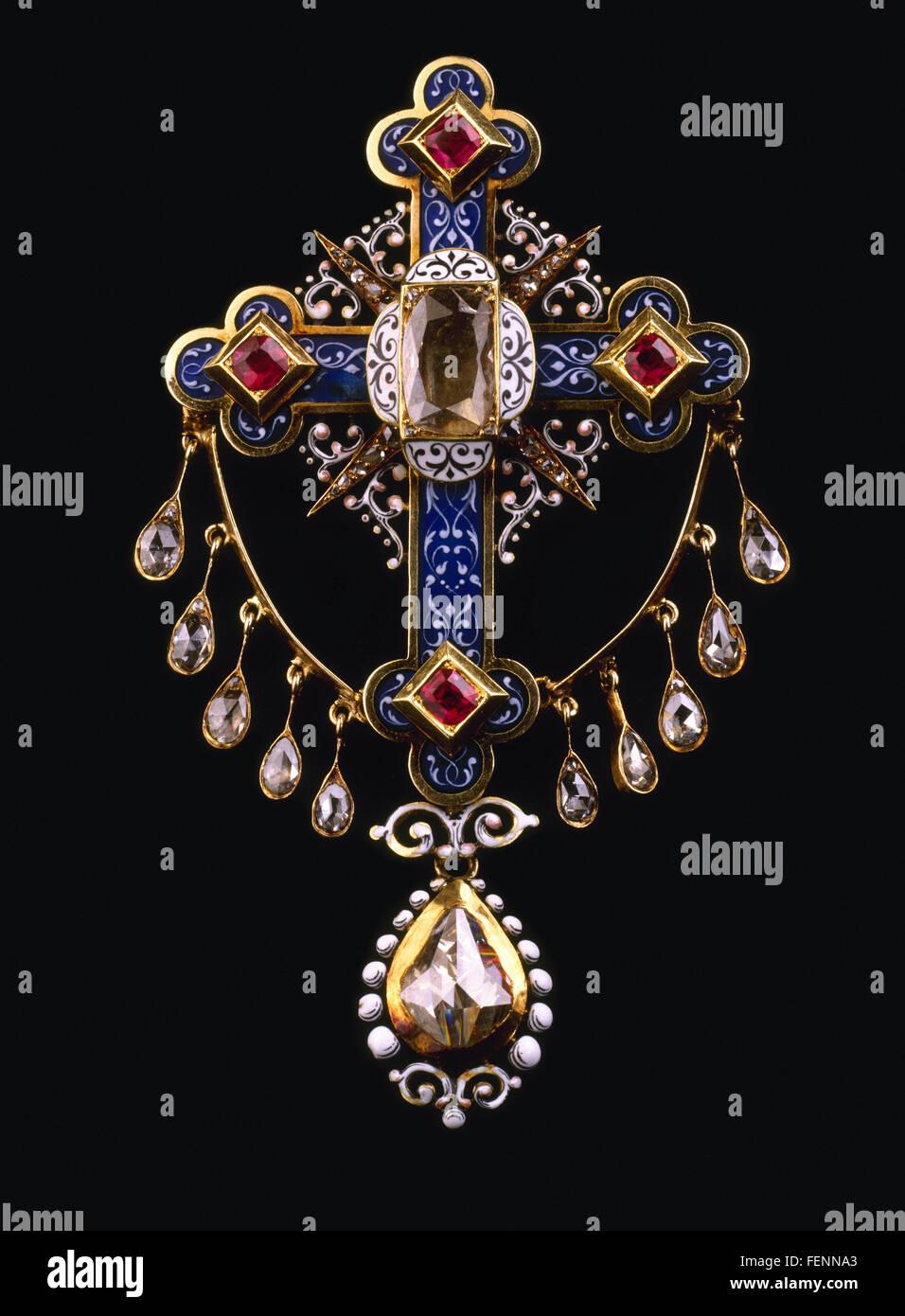 Beautiful vintage diamond and ruby  brooch on black - Stock Image