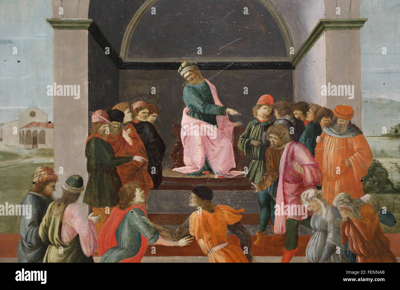Story of Virginia: The Decemvir Condems Virginia to slavery. By Filippo Lippi (1406-1469). Quattrocento. - Stock Image