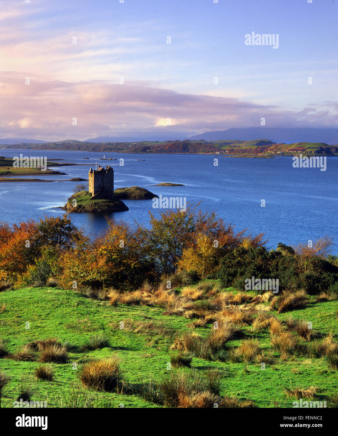 Autumn view of Castle Stalker, Appin, Argyll - Stock Image