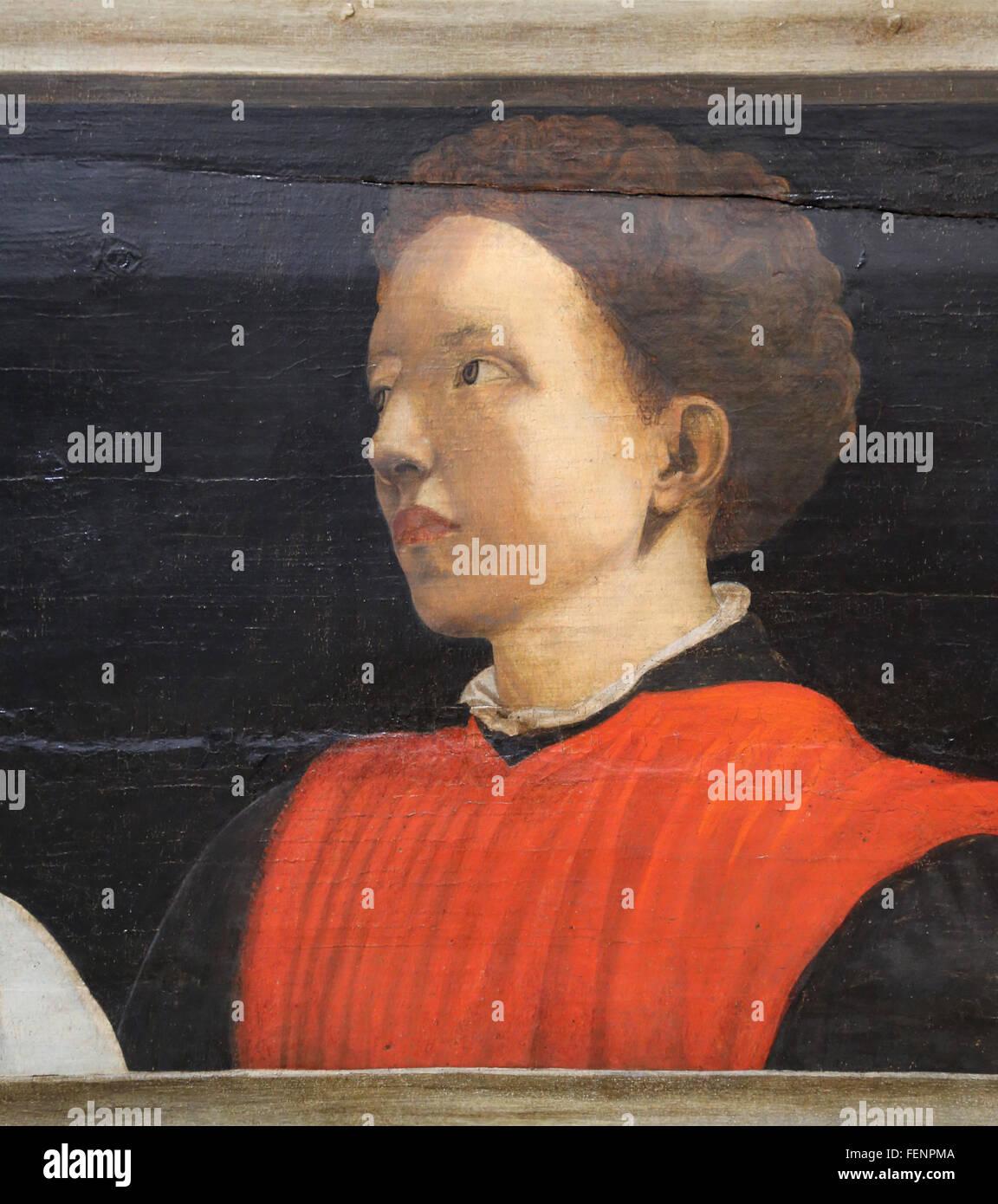 Portrait of Italian mathematician and architect Antonio Mantti (1423-1497). Five famous men, 1450, by Paolo Ucello - Stock Image