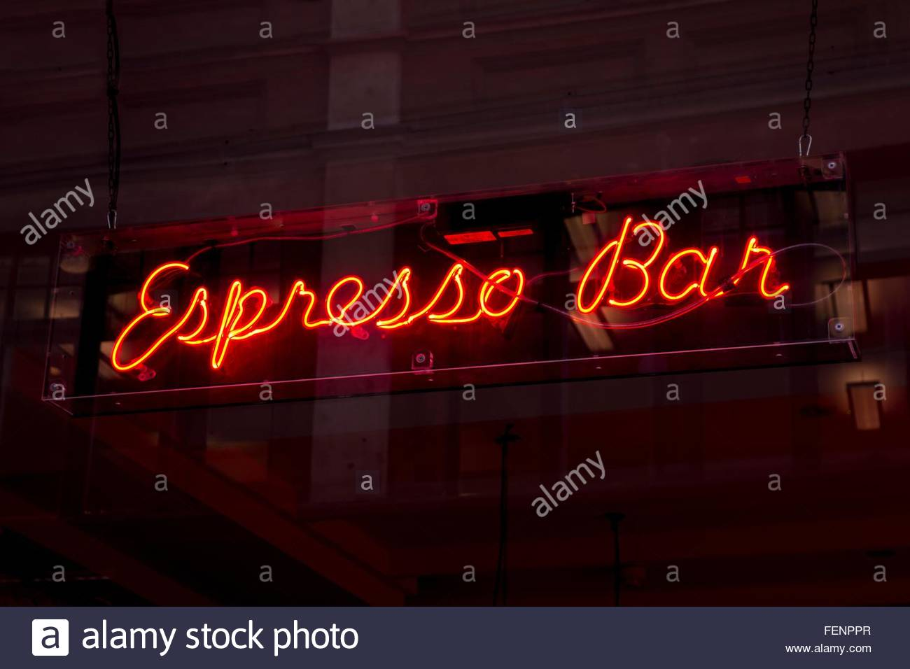 Neon sign at night - Stock Image