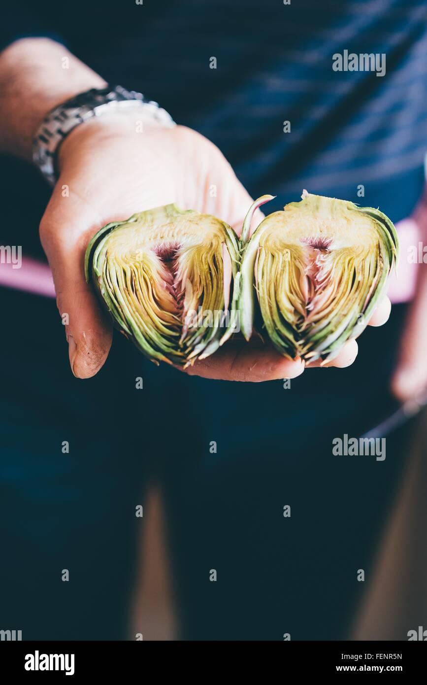 Male hands holding prepared globe artichokes halves - Stock Image
