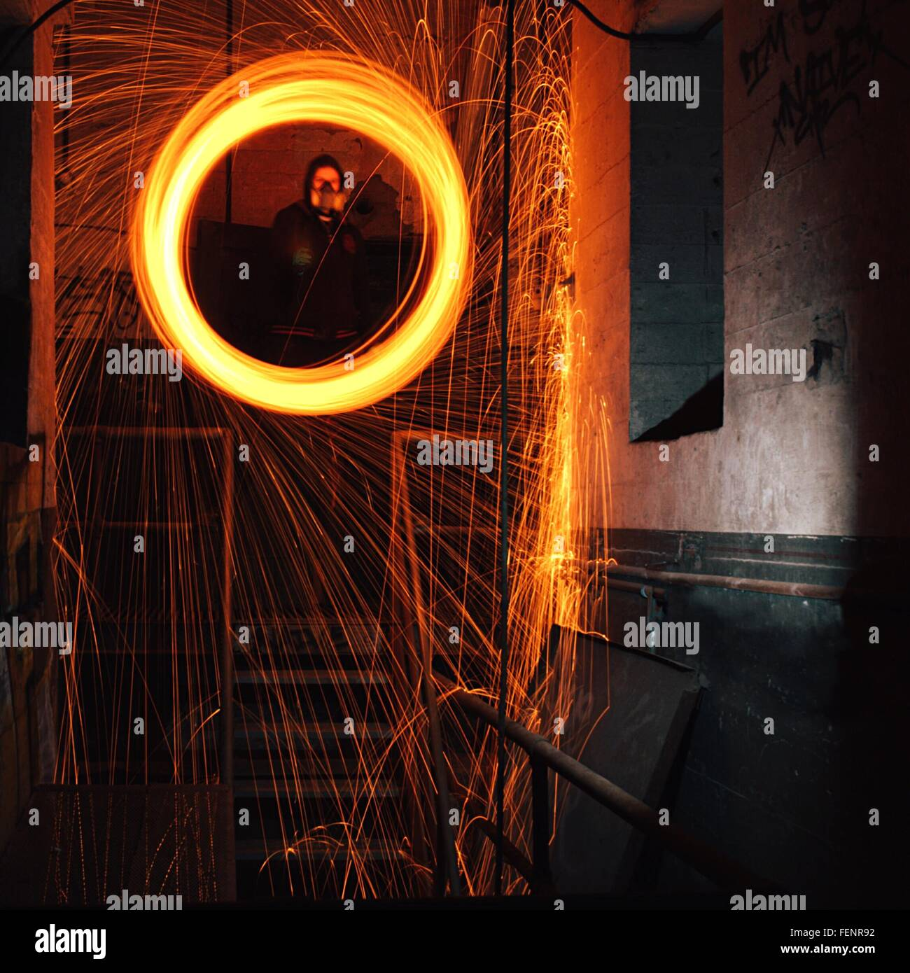 Worker Welding On Staircase - Stock Image