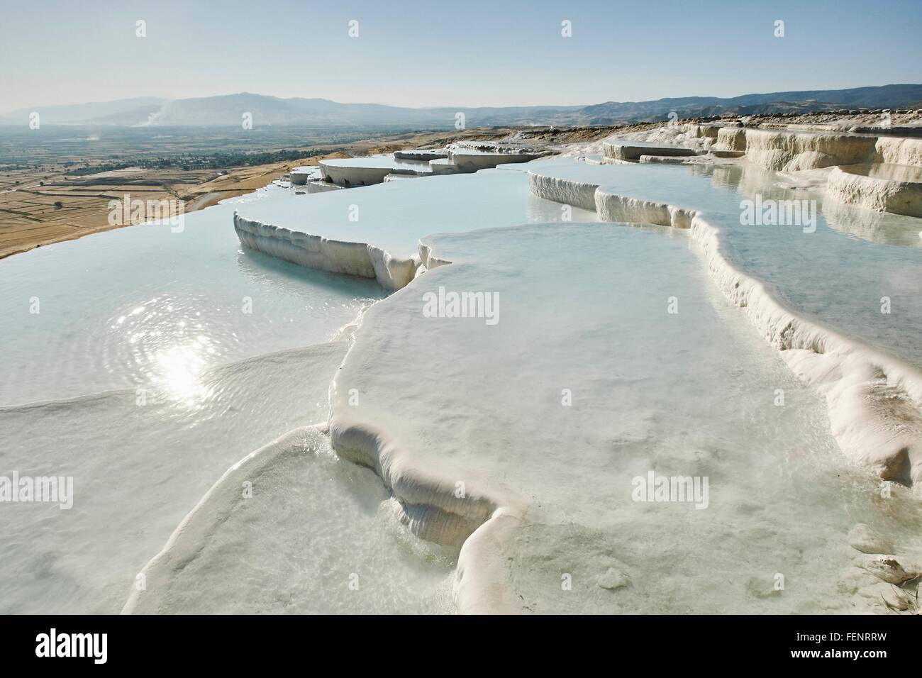 White hot spring terraces, Pamukkale, Anatolia, Turkey - Stock Image