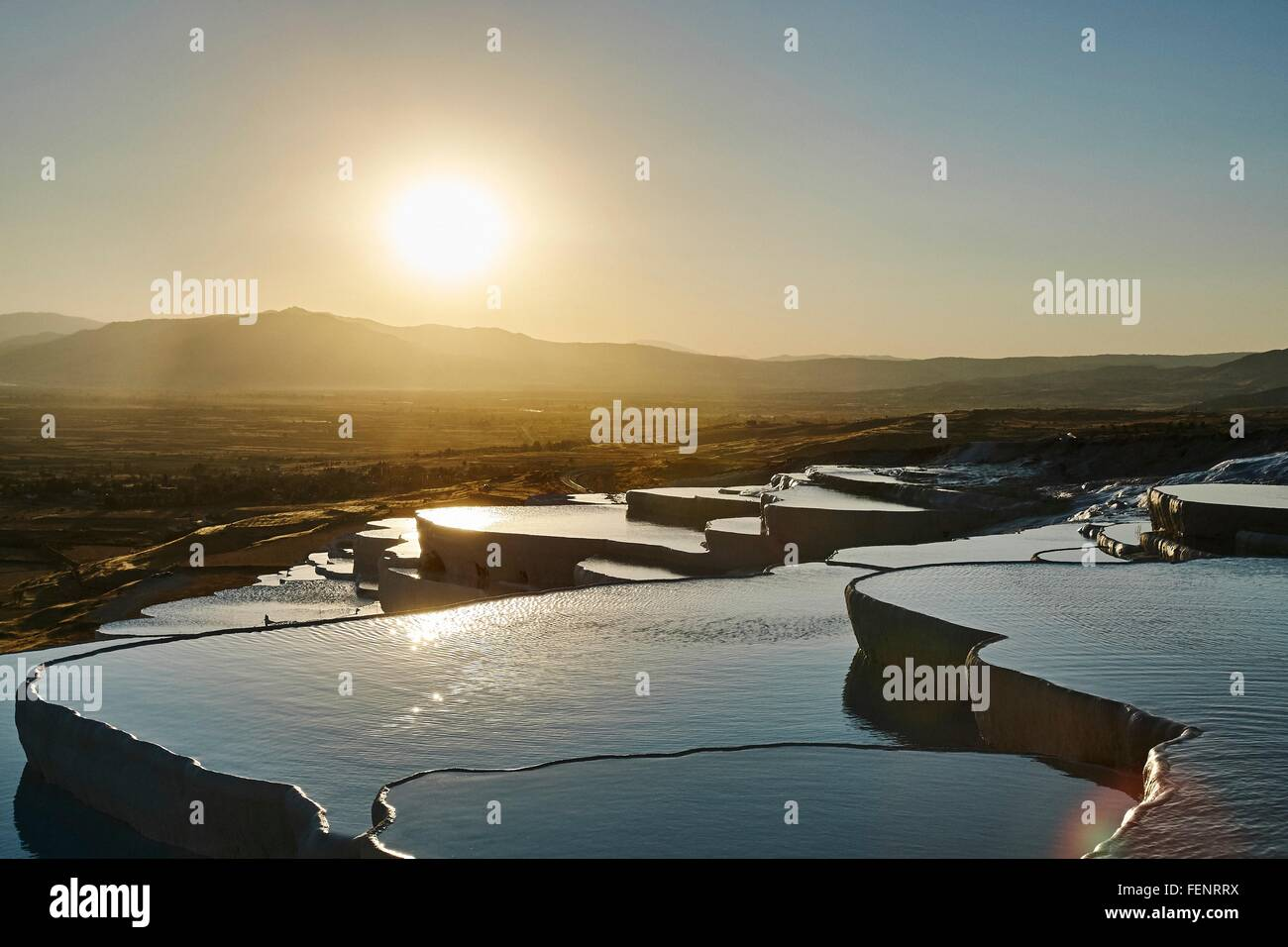 Sunset at hot spring terraces, Pamukkale, Anatolia, Turkey - Stock Image