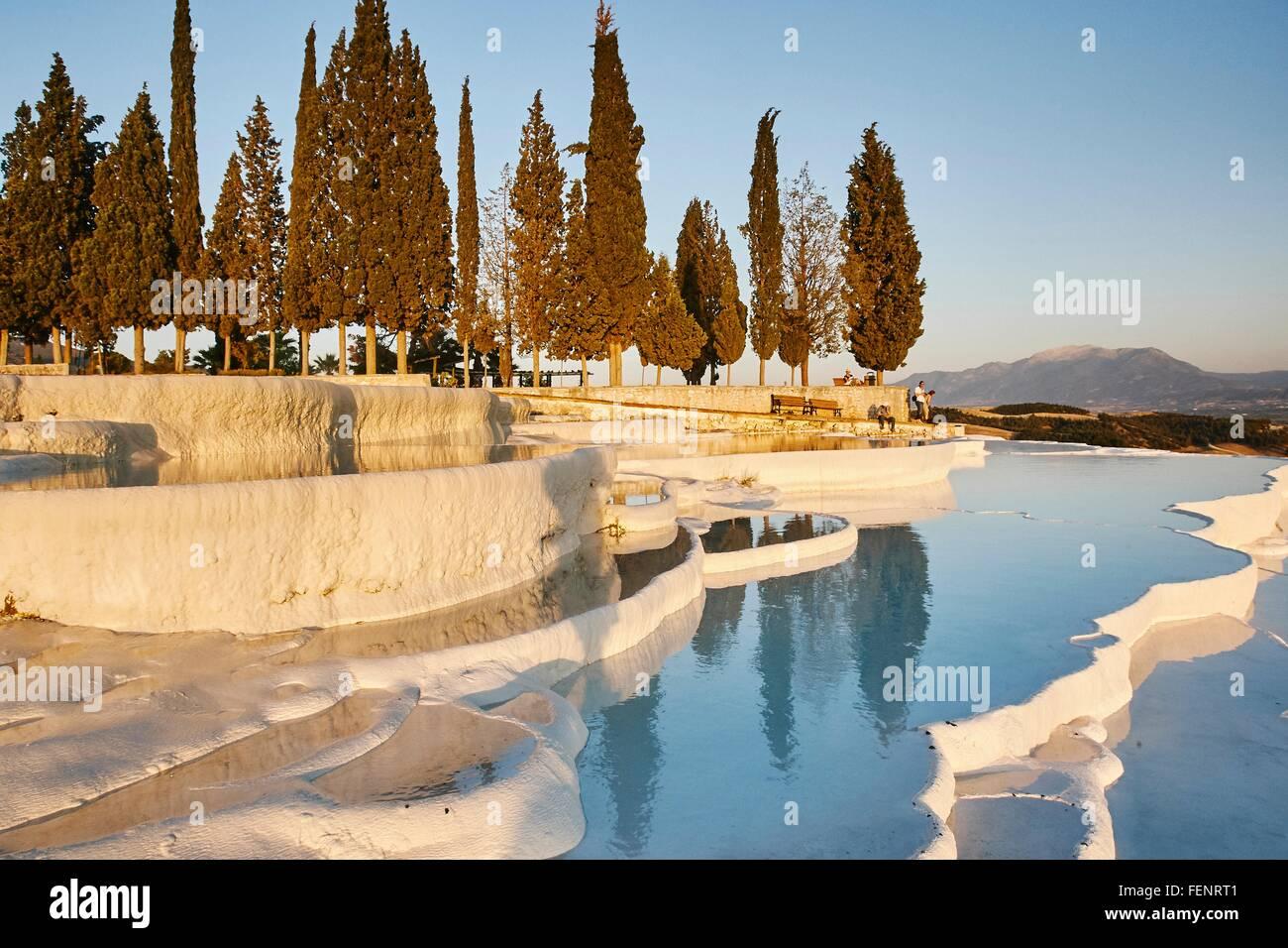 Hot spring terraces, Pamukkale, Anatolia, Turkey - Stock Image