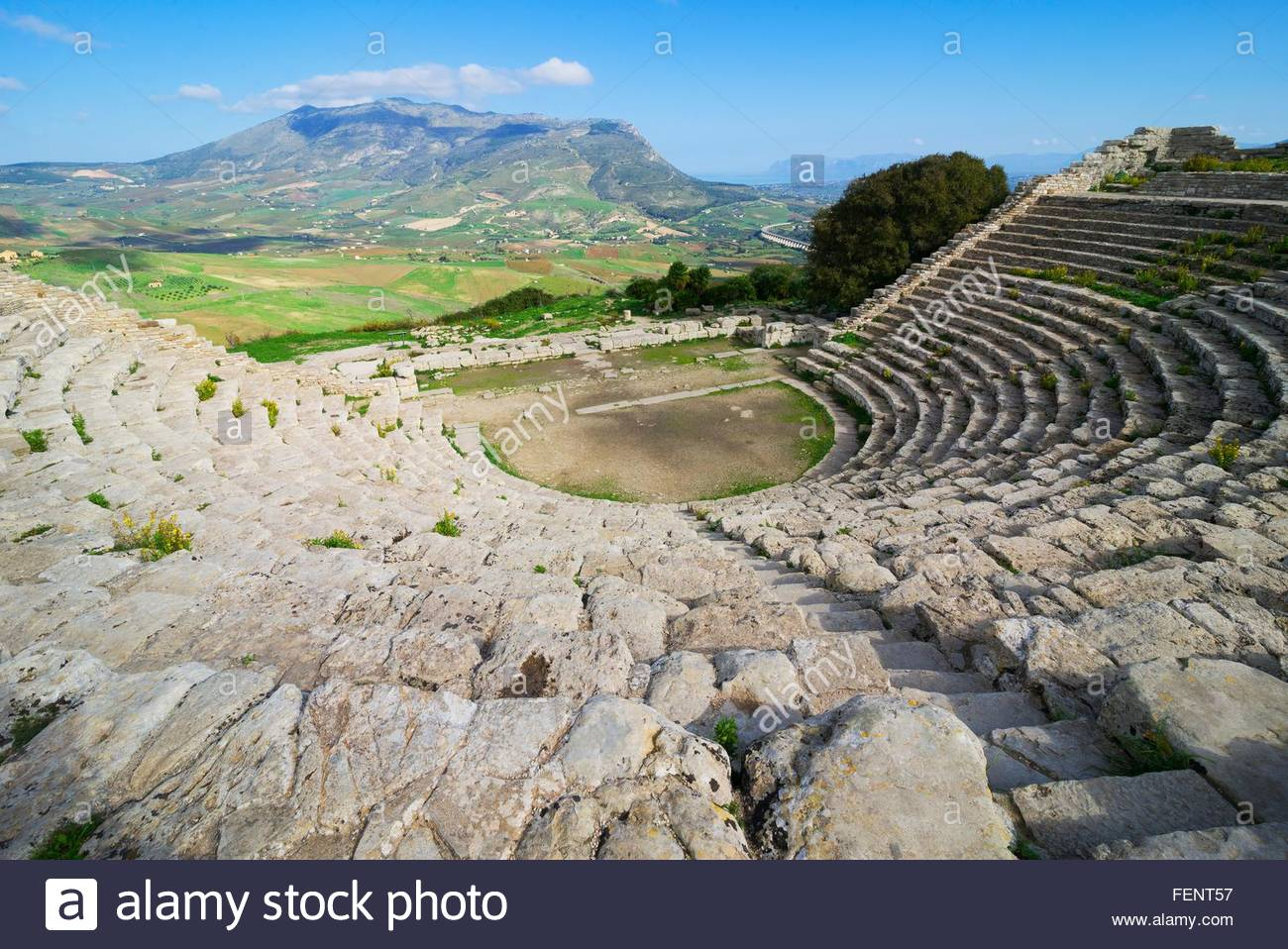 Elevated view of landscape from ancient Greek amphitheatre, Segesta, Sicily, Italy - Stock Image