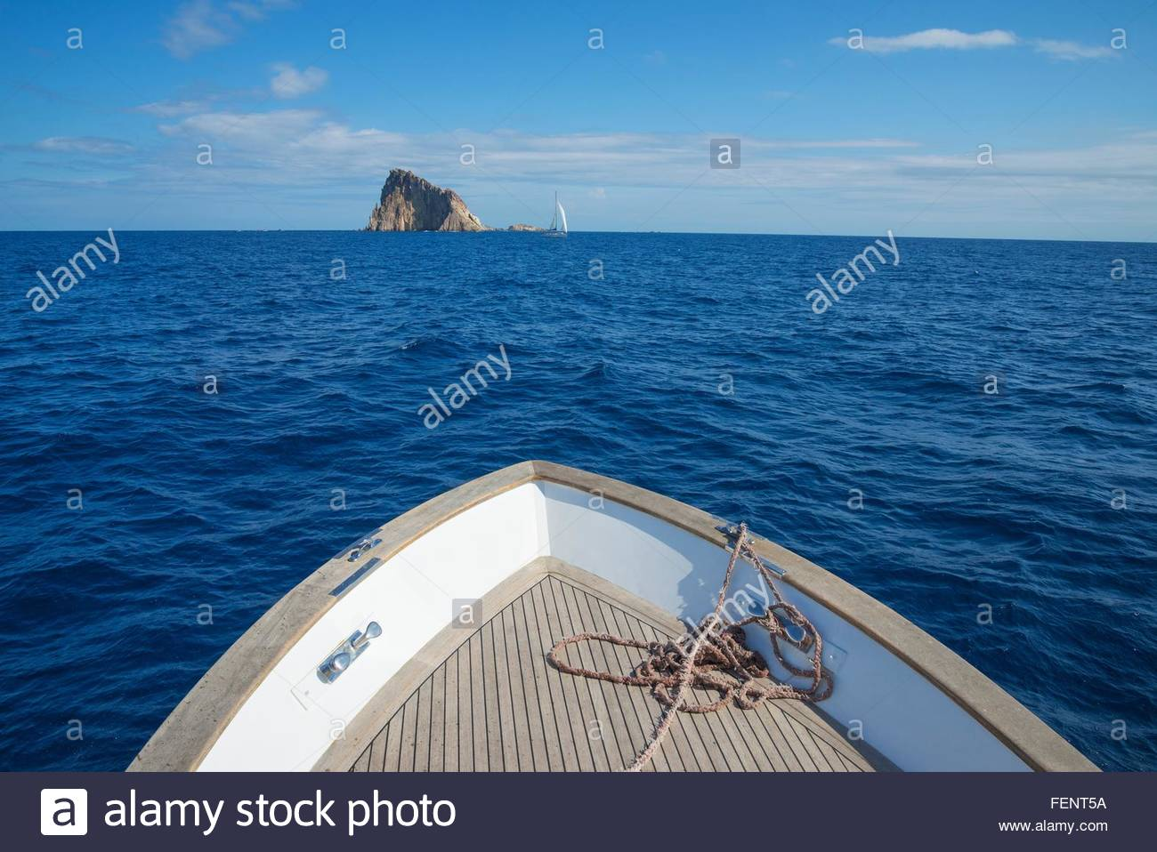 Sailing at Basiluzzo Cliff, Panarea, Aeolian Islands, Sicily, Italy Stock Photo