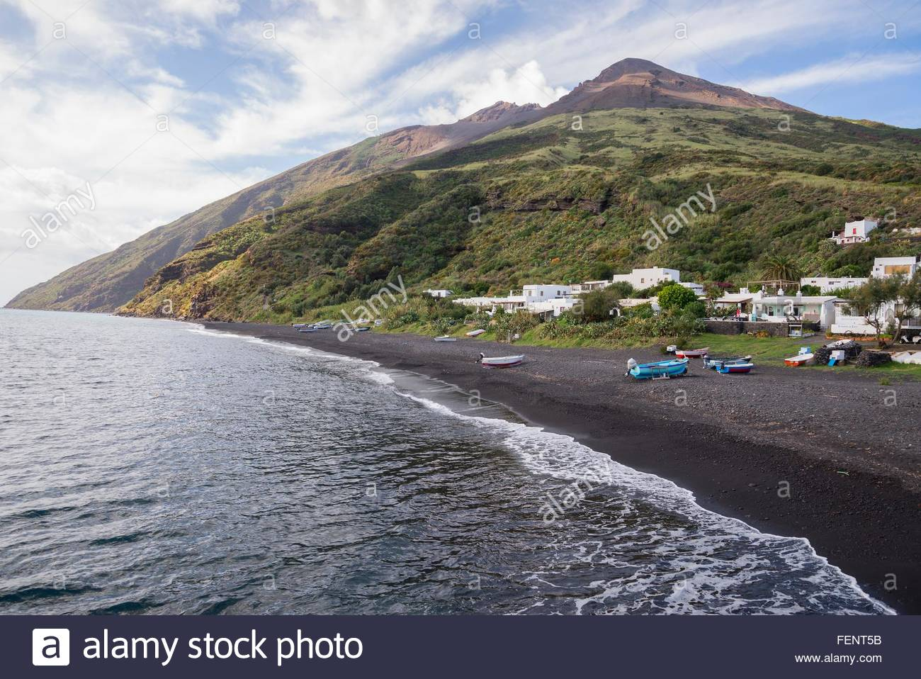 Coast and black sand of beach Stromboli, Aeolian Islands, Sicily, Italy - Stock Image