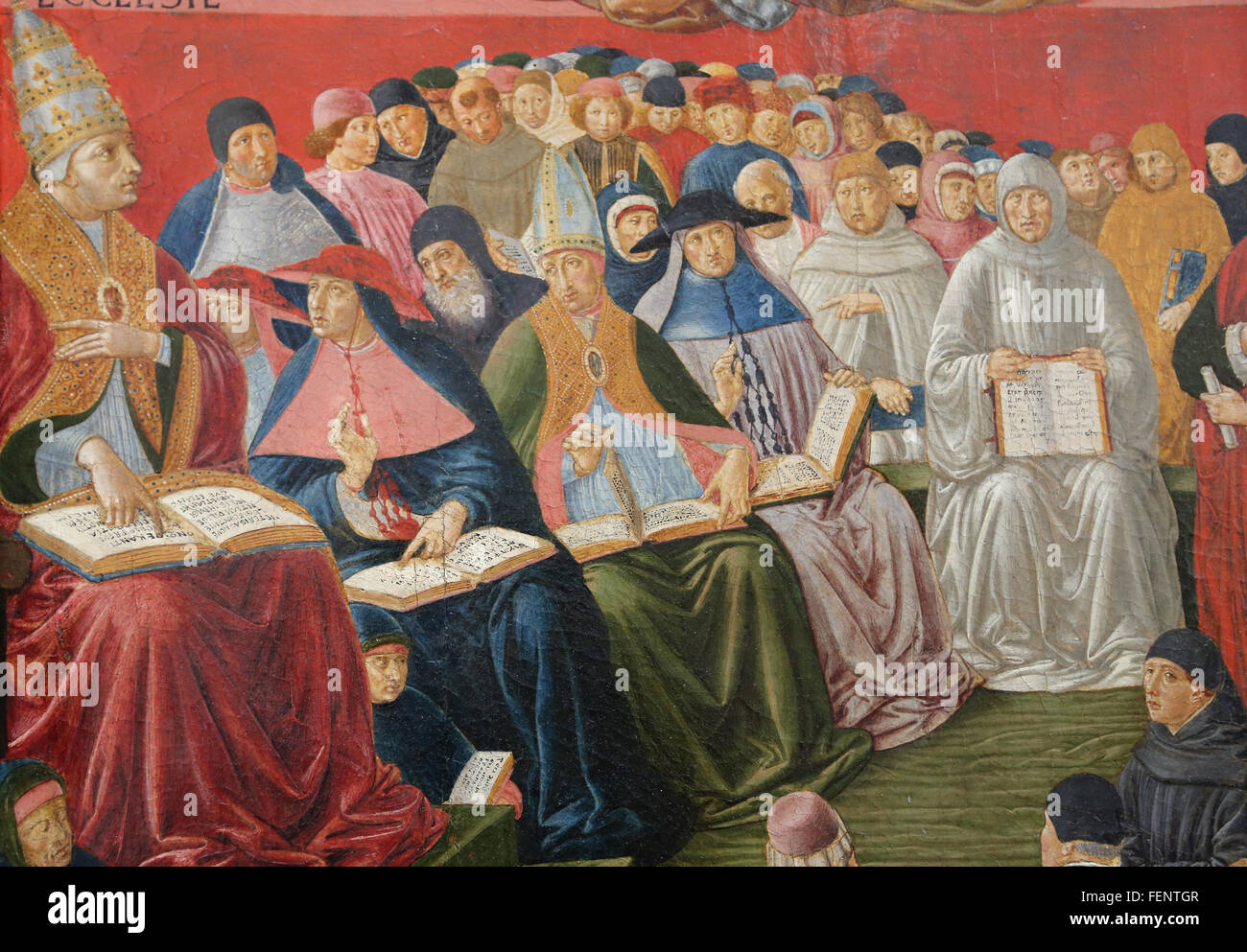Triumph of St.Thomas Aquinas,1475. Clergymen between of the pope Sixtus IV) (1414-1484). By Benozzo Gozzoli (1420 - Stock Image