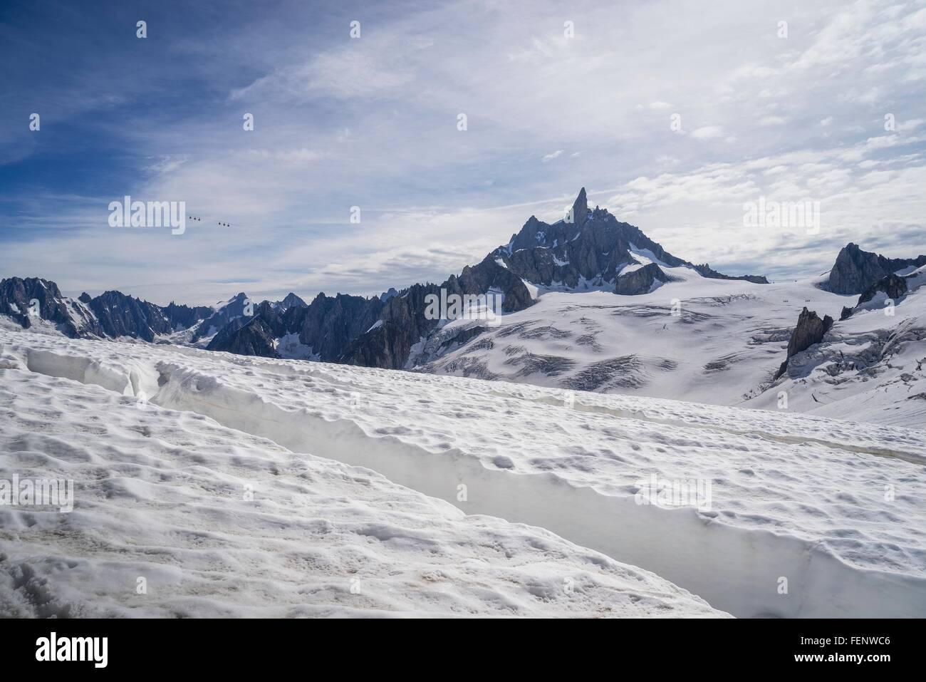 Crevasse on glacier, Mer de Glace, Mont Blanc, France - Stock Image