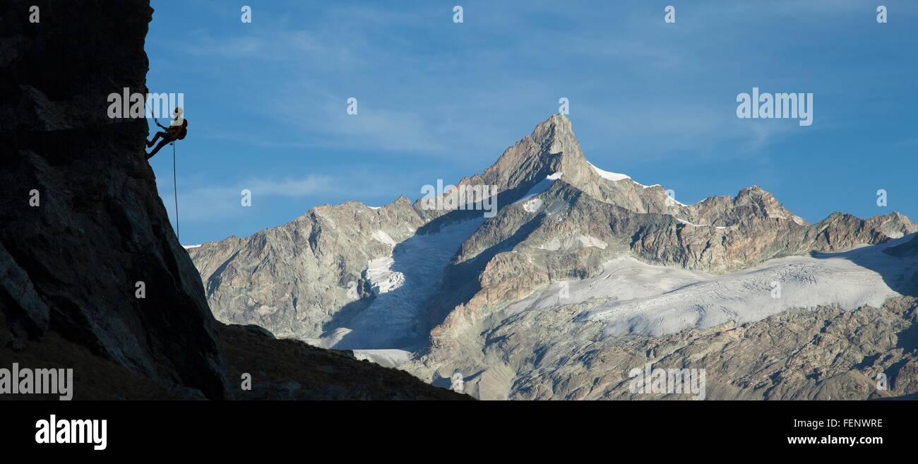 Climber on rocky wall, Mont Blanc, France - Stock Image
