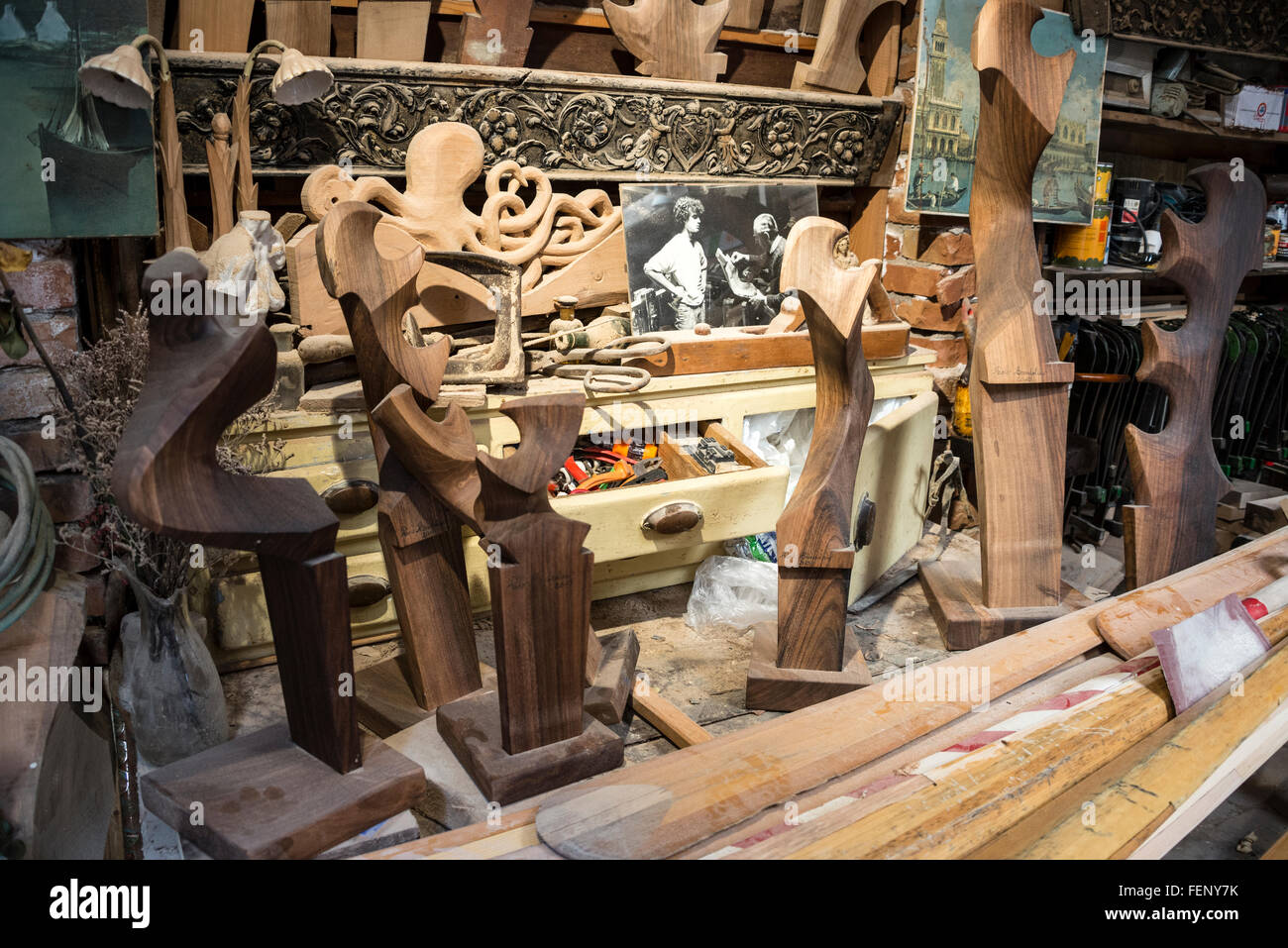 A variety of hand-carved oar-locks known as a Forcola that holds the moving oar/long pole - Stock Image