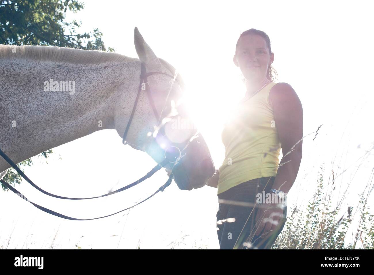Portrait of woman with grey horse against sunlit sky - Stock Image