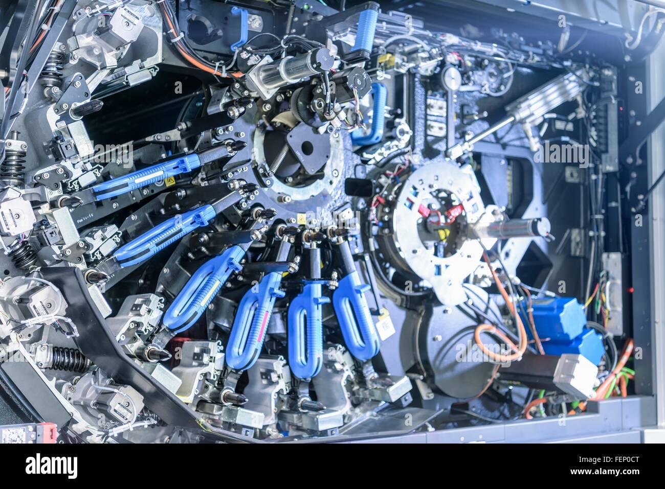 Detail of ink jet printer in food packaging printing factory Stock Photo