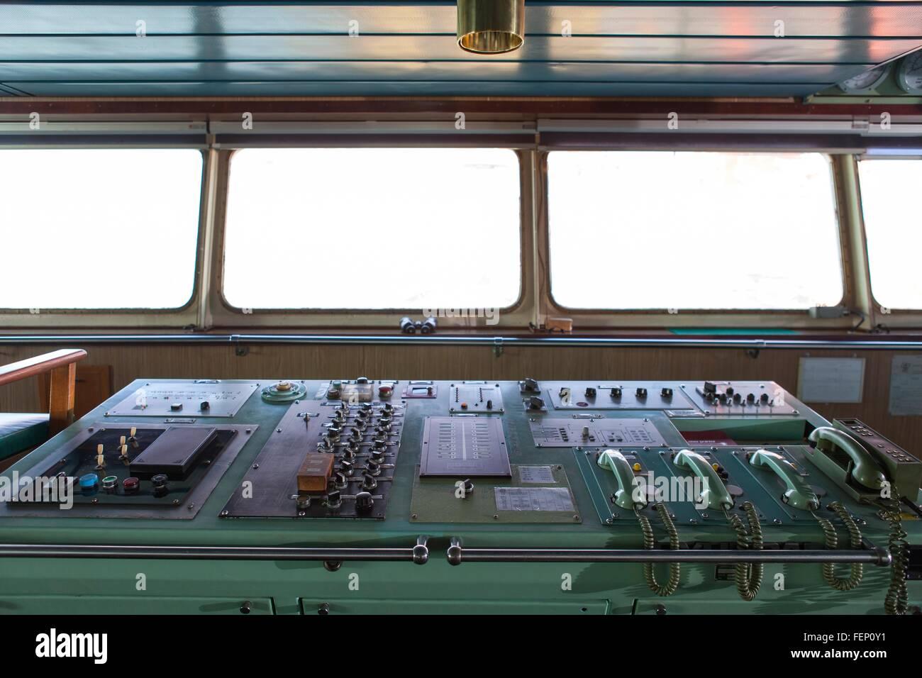 Control panel on board ship - Stock Image