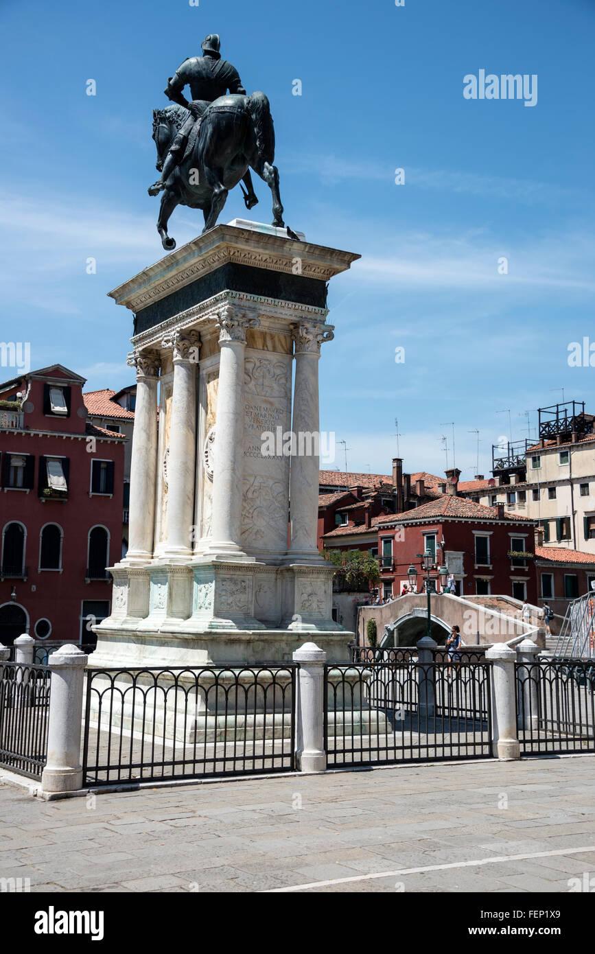Monumento Equestre a Bartolomeo Colleoni  (Equestrian statue of Bartolomeo Colleoni) on Campo SS Giovanni - Stock Image