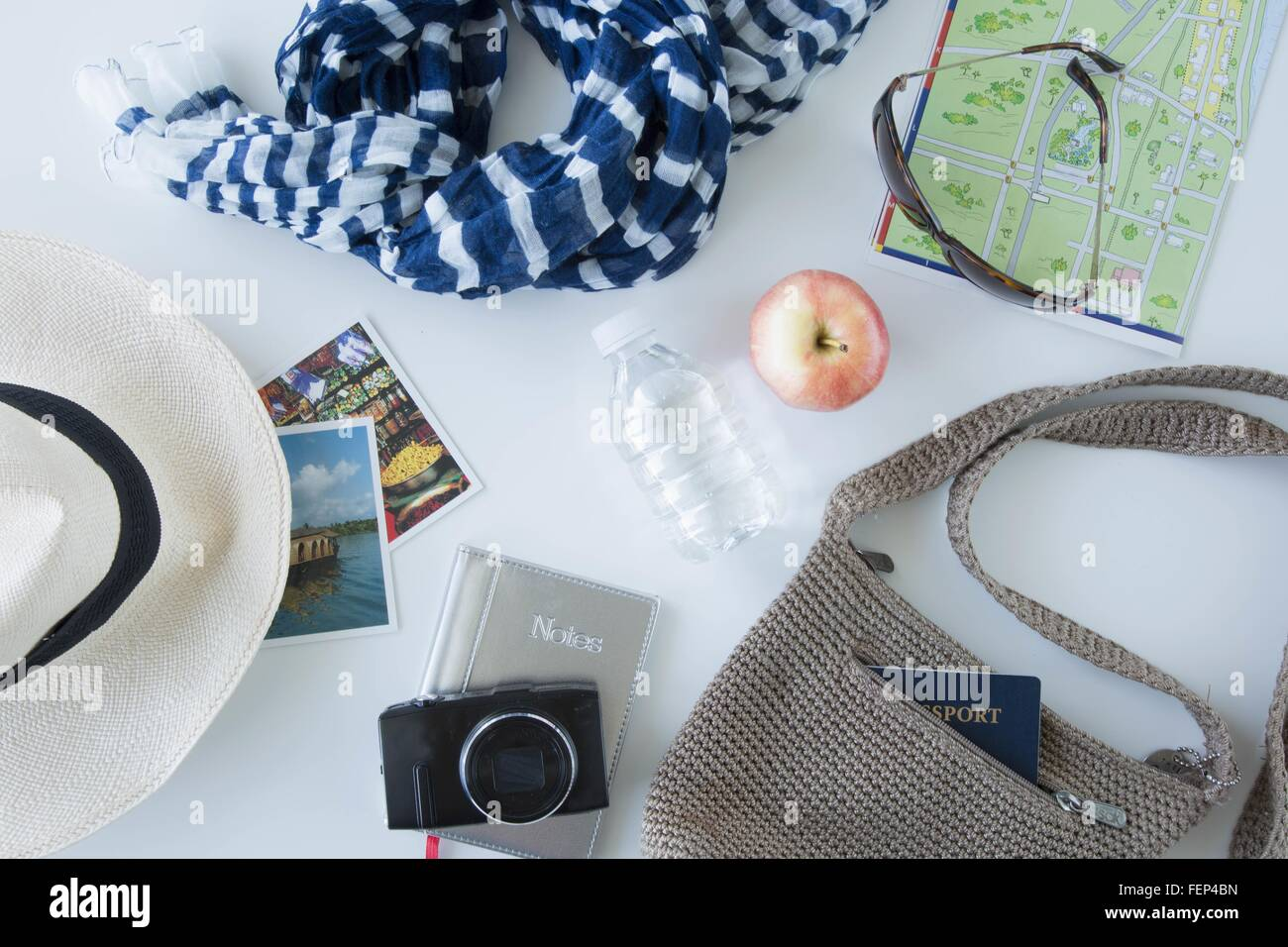 Overhead view of items being prepared for sightseeing on city break - Stock Image