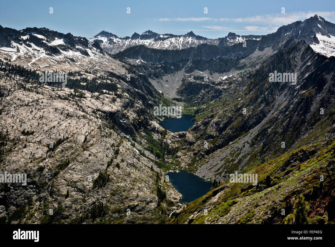 CALIFORNIA - Emerald and Sapphire Lakes in the Stuart Fork Creek Valley from the summit of the Caribou Scramble Stock Photo