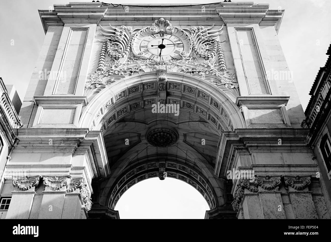 Low Angle View Of Rua Augusta Arch - Stock Image