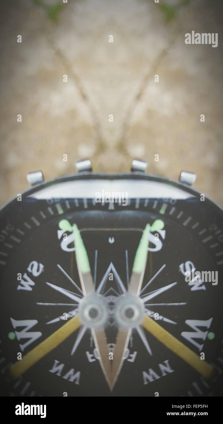Cropped Image Of Navigational Compass - Stock Image