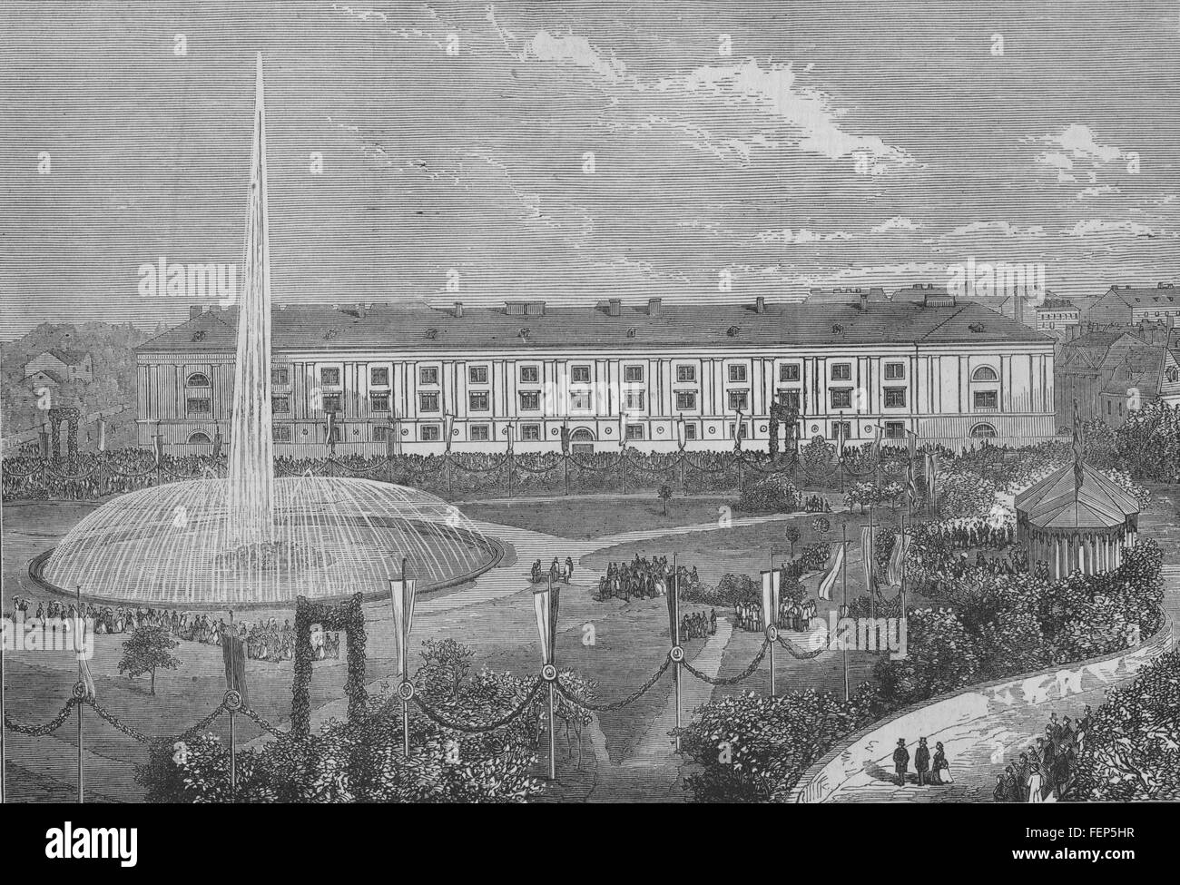 VIENNA WIEN Opening of the new city water-works 1873. Illustrated London News - Stock Image