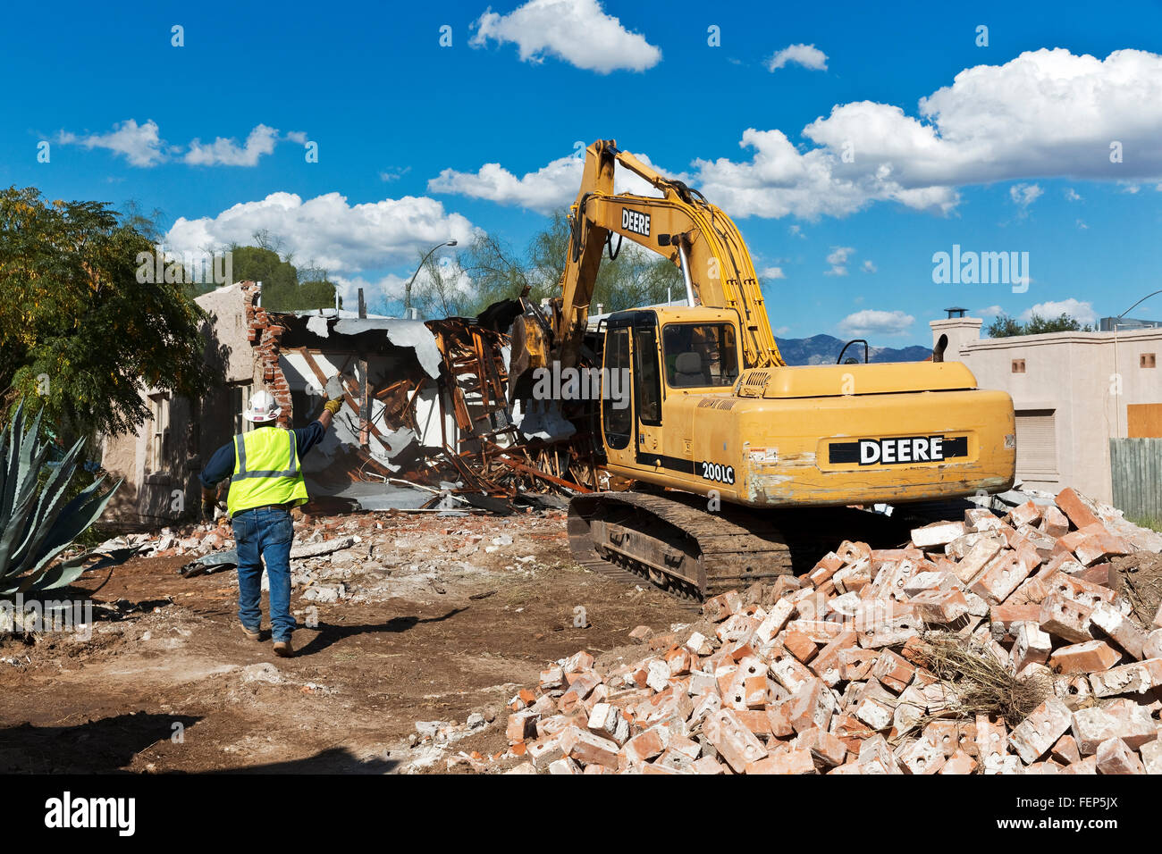 Demolition of a single family home, Tucson, Arizona - Stock Image
