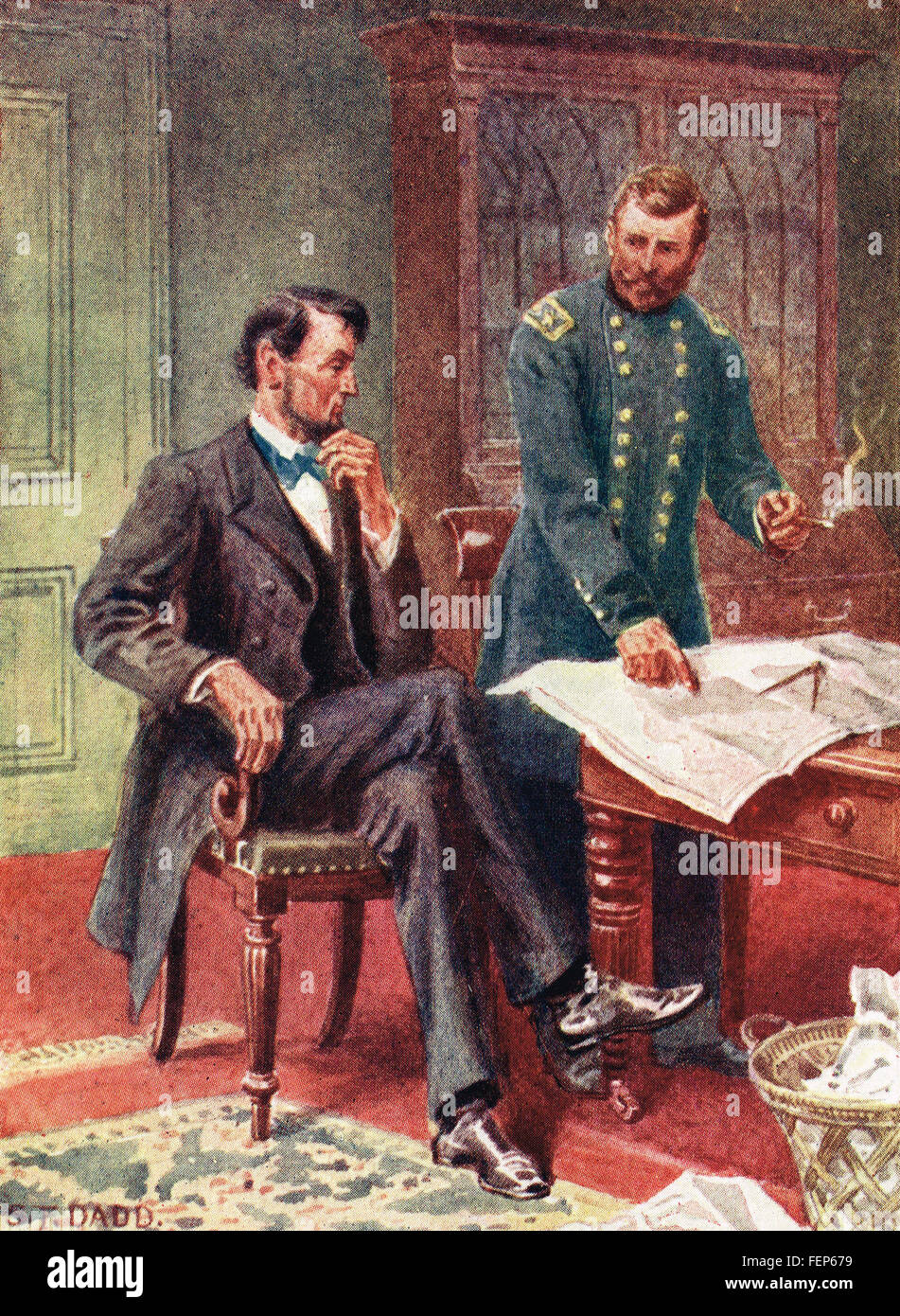 President Lincoln & General Grant discuss civil war plans - Stock Image