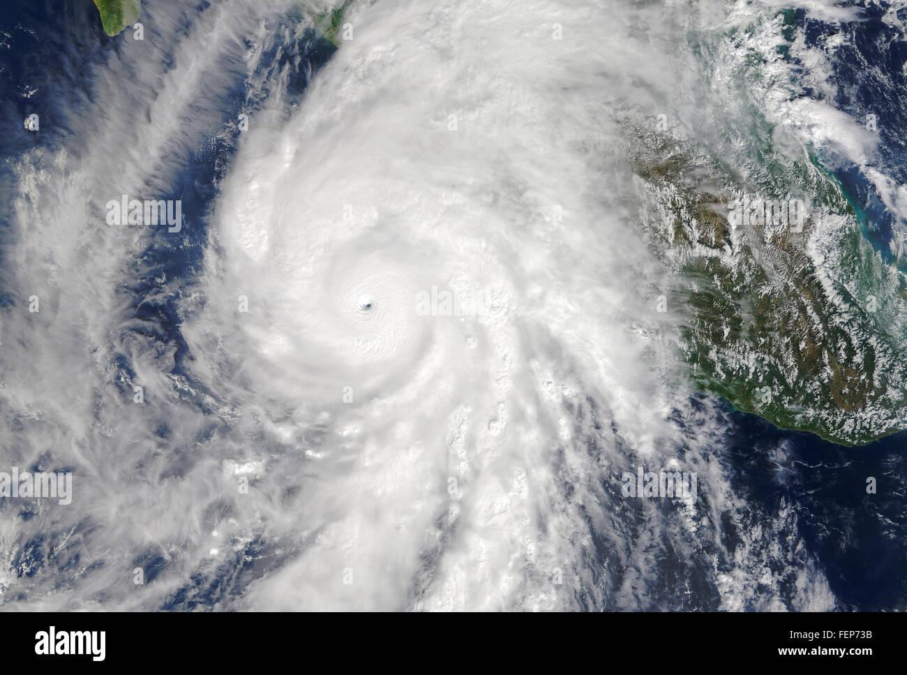 Satellite image of Category 5 Hurricane Patricia moving toward Mexico, October, 2015 - Stock Image