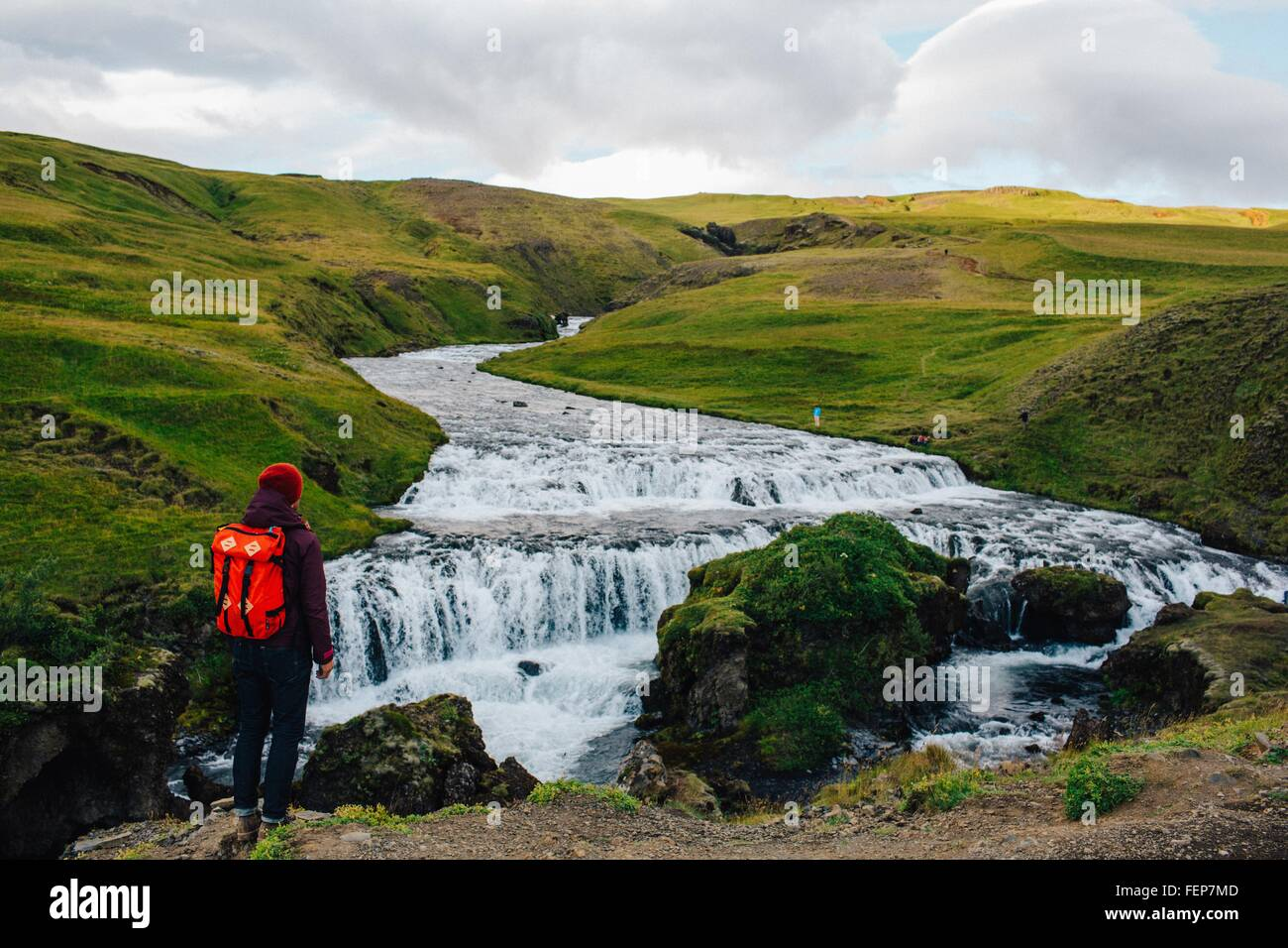 Rear view of mid adult man looking at river flowing through lush green landscape, Iceland Stock Photo