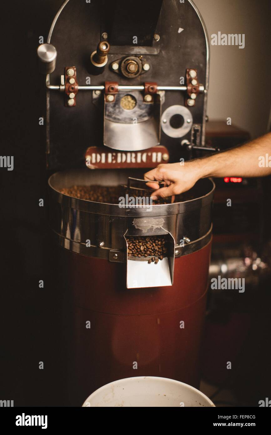 Man using coffee roaster - Stock Image