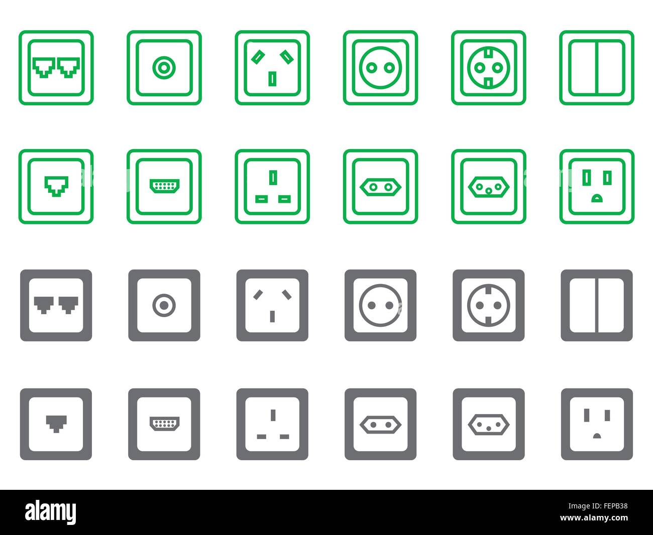 Various Electric Telecom Hdmi Tv Sockets Icons In Two Color Stock