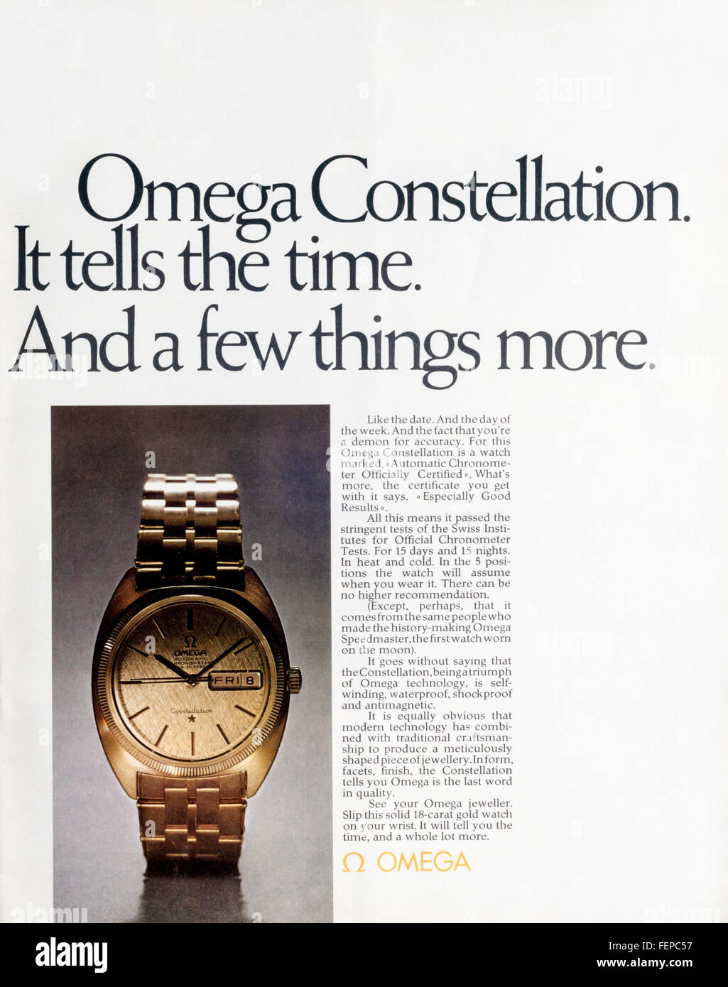 1970s advert advertising Omega Constellation watches. - Stock Image