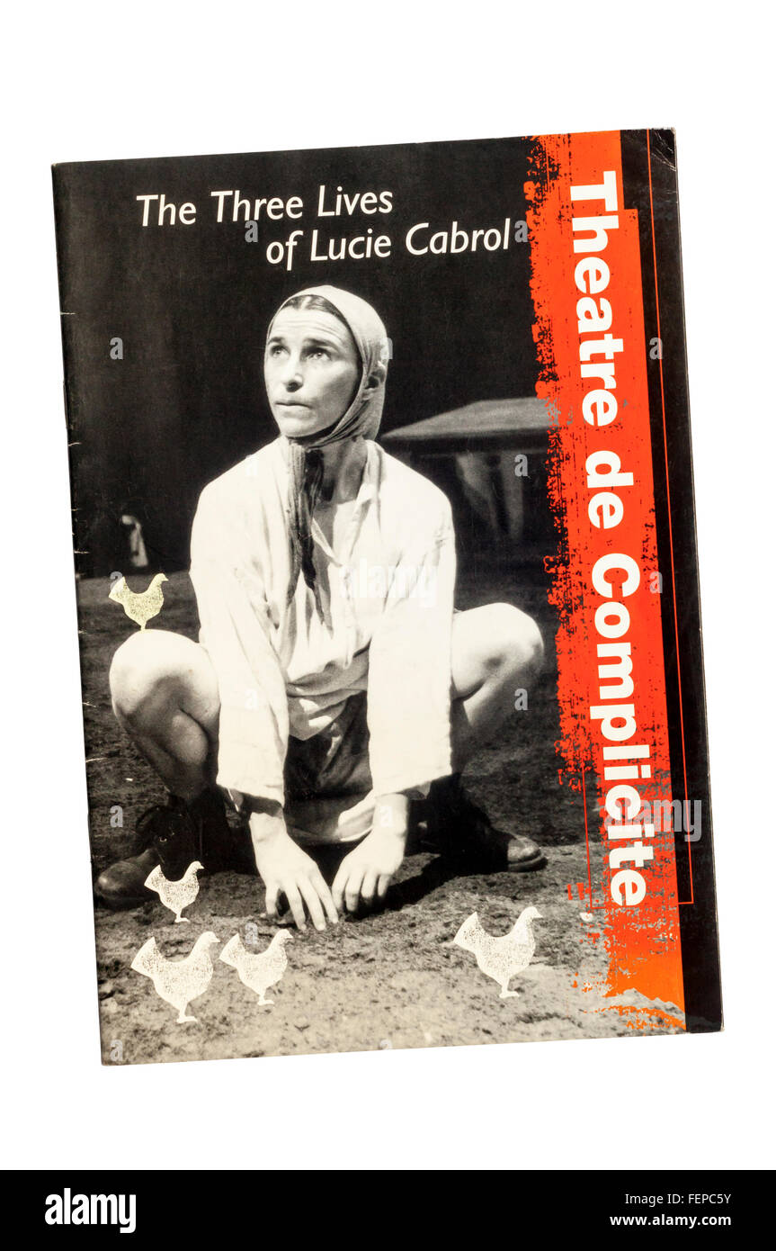 1994 programme for The Three Lives of Lucie Cabrol, based on John Berger story, by Theatre de Complicite at Shaftesbury - Stock Image