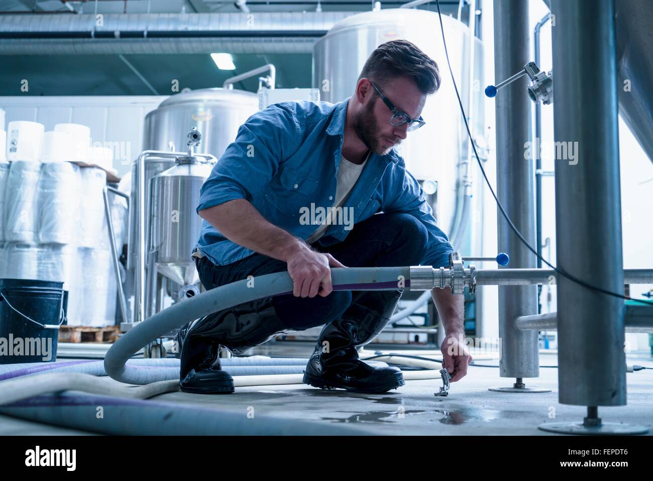 Young man in brewery crouching down connecting pipe - Stock Image