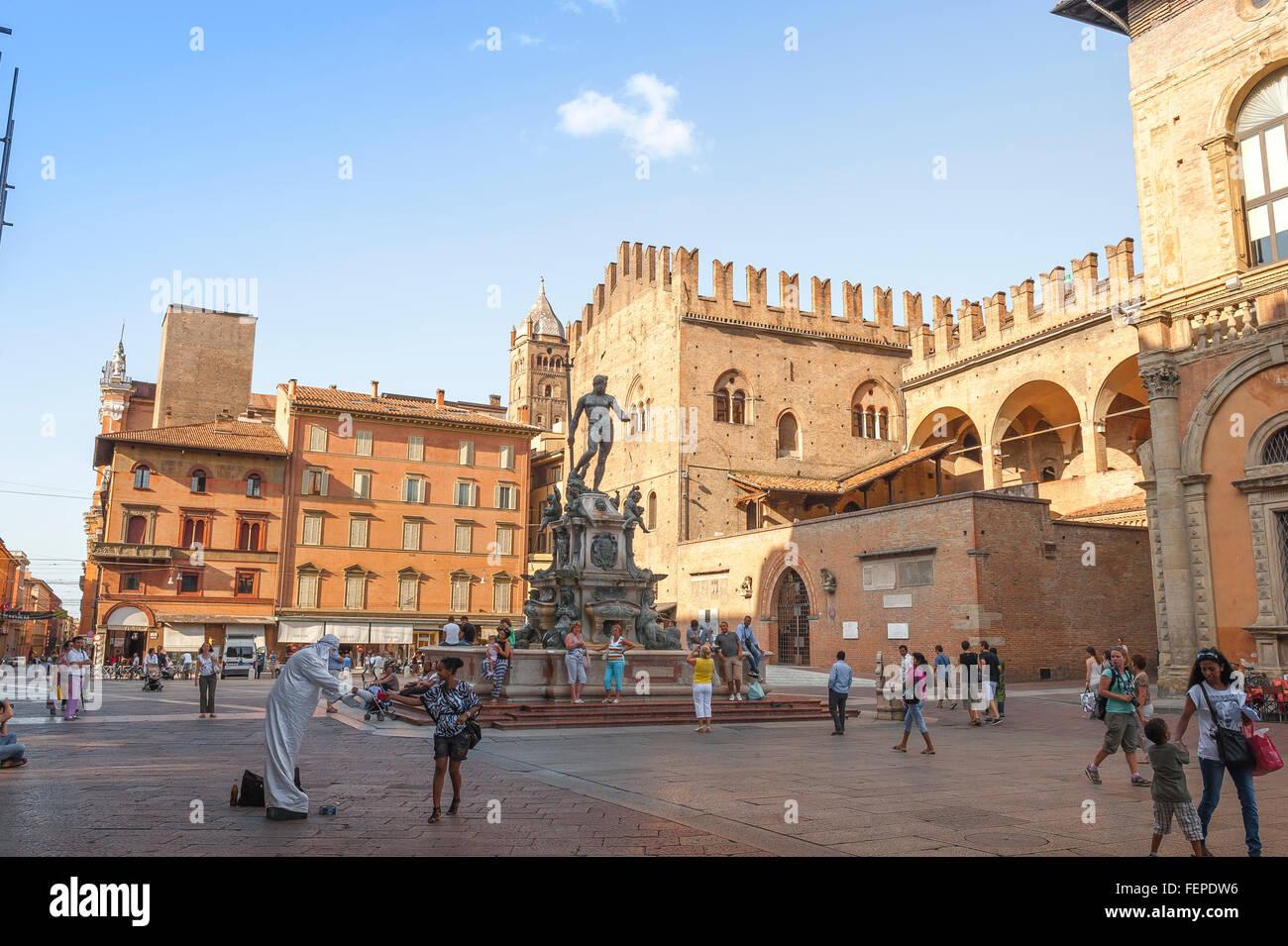Piazza del Nettuno Bologna, view of the Fountain Of Neptune sited in the Piazza del Nettuno the city of Bologna, Stock Photo